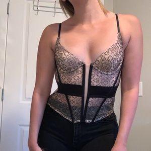 Victoria's Secret Nude and Black Corset